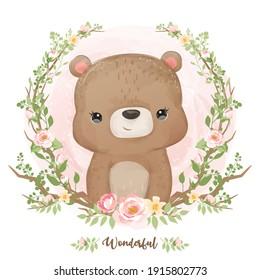 Cute little bear illustration in watercolor