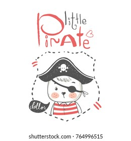 Pirate invitation stock vectors images vector art shutterstock cute little bear pirate cartoon hand drawn vector illustration can be used for baby stopboris Image collections