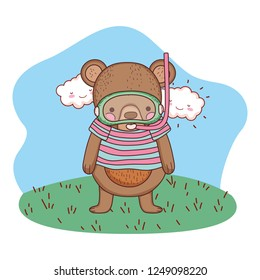 cute little bear with shirt and snorkel