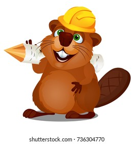 Cute little beaver with his sharpened stick and helmet of the Builder isolated on white background. Vector cartoon close-up illustration.