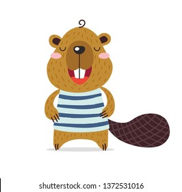 Cute little beaver is smiling. Brave kawaii furry beaver in a striped T-shirt. Forest, river, lake, pond. Flat hand drawn illustration kid's poster. Cartoon animal character set. Child theme.