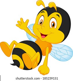 Cute little bee cartoon waving hand