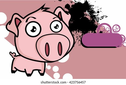 cute little big head pig cartoon background in vector format very easy to edit