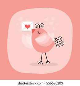 Cute little bird holding heart letter emblem on pink background