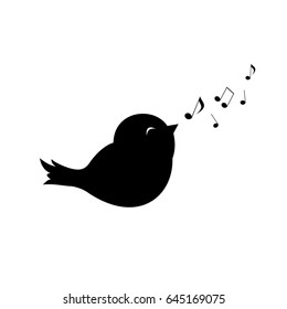 cute little bird sings with its beak and fly notes, Vector illustration, bird  in minimalistic style, vector, logo, sign
