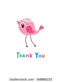 cute little bird thank you card vector
