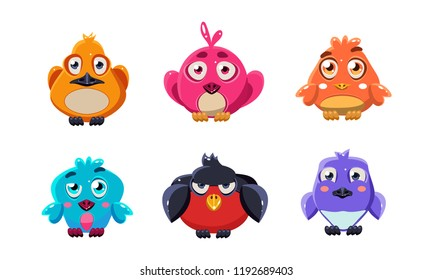 Cute little birds set, colorful cartoon glossy birdie, user interface assets for mobile apps or video games vector Illustration on a white background