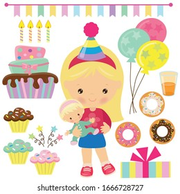 Cute little birthday girl with a doll vector cartoon illustration