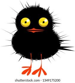 Cute little black chicken, cartoon vector illustration