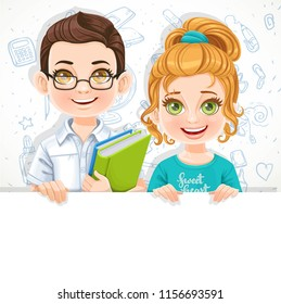 Cute little blond girl in green tee-shirt and brunette boy in glasses holds large white horizontal banner on a white background with school doodles