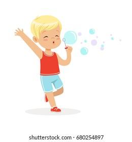 Cute little blonde boy blowing bubbles vector Illustration