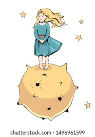 a cute little blonde girl in blue dress standing alone on a yellow desert planet with stars shining in the sky - hand drawn flat vector illustration