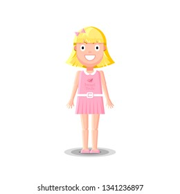 Cute little blonde girl character in pink dress is standing on white background. Flat style vector illustration.