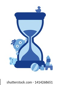 Cute little blue baby boy and the hourglass on white background. Concept of passing time. Child fast development metaphor, babies growing up, grow older. Deadline coming. Simple vector Illustration.