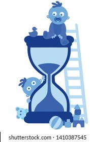 Cute little blue baby boys and the hourglass on white background. Concept of passing time. Child fast development metaphor, babies growing up, grow older. Deadline coming. Simple vector Illustration
