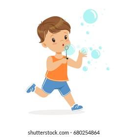 Cute little boy blowing bubbles vector Illustration