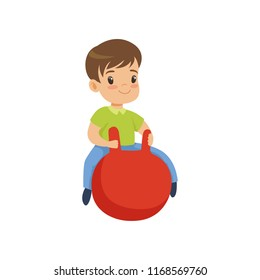 Cute little boy bouncing on red hopper ball vector Illustration on a white background