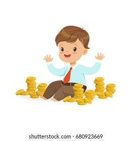 Cute little boy businessman sitting surrounded by stacks of gold coins, kids savings and finance, richness of childhood vector Illustration