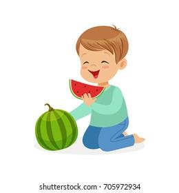 Cute little boy character enjoying eating watermelon cartoon vector Illustration