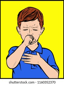 Cute little boy is coughing. Young male having whooping cough asthma problems and coughing badly covering mouth and holding on chest. Pop Art Vector vintage illustration artwork