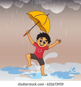 Cute little boy dancing and enjoying in rains, Monsoon Season concept.