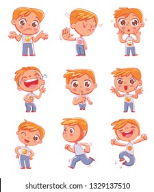 Cute little boy with different emotions. Emoji Stickers Emotions. Funny cartoon colorful character. Set for online communication, networking, social media chat, mobile message. Isolated on white