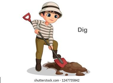 Cute little boy digging hole with shovel vector illustration