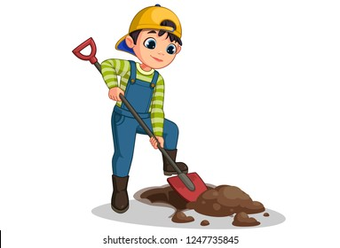 Cute little boy digging hole with shovel vector cartoon illustration