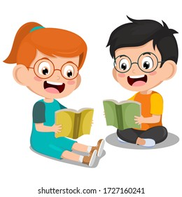 Cute little boy and girl sitting reading book on floor for learning. clever kid. childhood happy smile when reading textbook. character cartoon child  vector illustration for education and study.