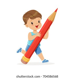 Cute little boy holding giant red pencil cartoon vector Illustration