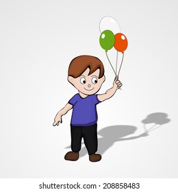 Cute little boy holding shiny balloon in national tricolors on grey background for 15th of August, Indian Independence Day celebrations.