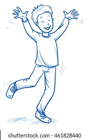 Cute little boy jumping with joy and laughter, hands raised. Hand drawn cartoon doodle vector illustration.