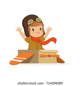 Cute little boy in pilot costume playing, kid dreaming of piloting the plane vector Illustration