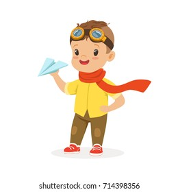 Cute little boy in pilot glasses playing with paper airplane vector Illustration