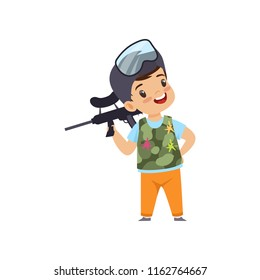 Cute little boy playing paintball with gun wearing helmet and vest vector Illustration on a white background