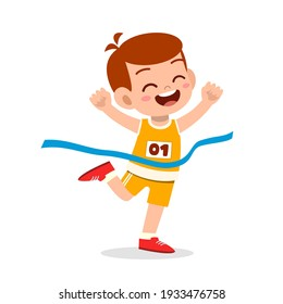 cute little boy run in race and win first place