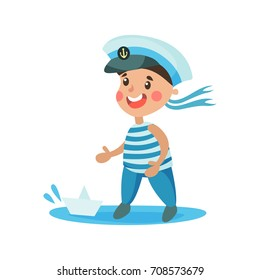 Cute little boy in sailors costume playing with paper boat, kid dreaming of becoming a sailor vector Illustration
