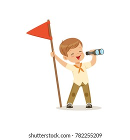 Cute little boy in scout costume with red flag looking through binoculars, outdoor camp activity vector Illustration
