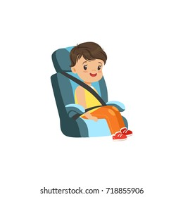 Cute little boy sitting in blue car seat, safety car transportation of small kids vector illustration