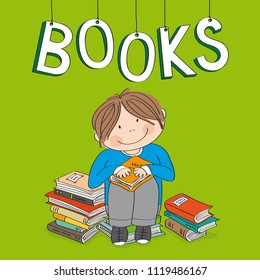 Cute little boy sitting on the pile of books, surrounded of books, enjoying reading - original hand drawn illustration