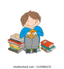 Cute little boy sitting on the pile of books, surrounded of books, enjoying reading - original hand drawn illustration