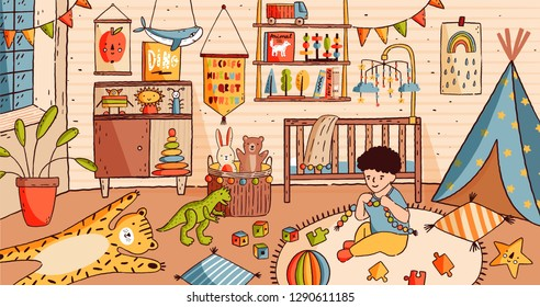 Cute little boy sitting on floor of baby room and playing with toys. Child in nursery full of furniture and home decorations - crib or cot bed, carpet, shelf, houseplant. Cartoon vector illustration.