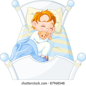 Cute  little boy sleeping in his bed