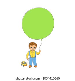 Cute little boy standing with big balloon and toy car, front view hand-drawn vector illustration isolated on white background. Hand-drawn happy boy, child, kid standing with balloon and toy car