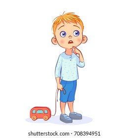Cute little boy stands thinking and holding in his hand a toy red bus on a string. Funny cartoon kids character. Colorful vector illustration isolated on white background.