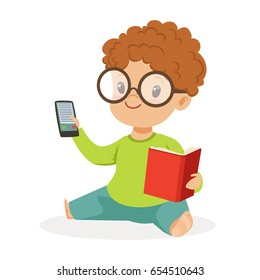 Cute little boy wearing glasses sitting on the floor and playing with book and phone, colorful cartoon character vector Illustration