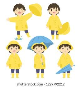 cute little boy in yellow raincoat and holding a blue umbrella, cartoon vector set.