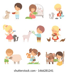 Cute Little Boys and Girls Feeding Animals Set, Adorable Kids Caring for Wild and Domestic Animals Cartoon Vector Illustration