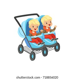 Cute little boys sitting in a blue baby carriage for twins, safety handle transportation of small kids vector illustration