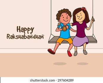 Cute little brother and sister swinging and hugging each other on occasion of Indian festival, Raksha Bandhan celebration.